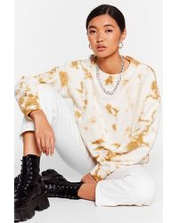 Nasty Gal Tie Dye Slouchy Cropped Sweater - White