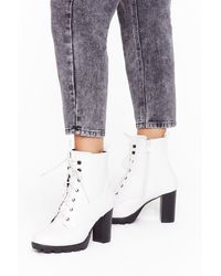 Nasty Gal Heels Like The Right Time Faux Leather Lace-up Boots - White