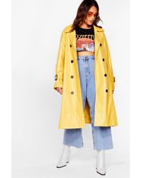 Nasty Gal Time Is On My Shine Plus Belted Trench Coat - Yellow