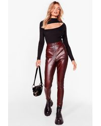 Nasty Gal Snake 'em Stop And Stare Faux Leather Leggings - Brown