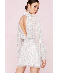 Nasty Gal Bridal Balloon Sleeve Embellished Mini Dress - White