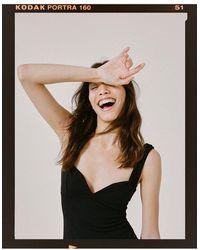 Nasty Gal Dressing gown midi à fente et col en cœur - Noir