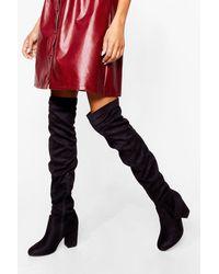 Nasty Gal It's Not Quite Over-the-knee Block Heel Boots - Black