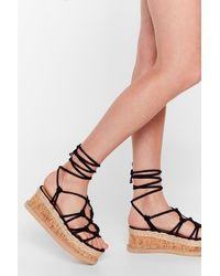 Nasty Gal - Woven Tie Up Strappy Platform Sandals - Lyst