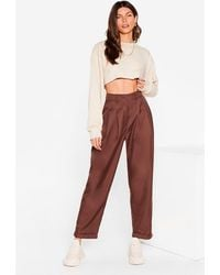 Nasty Gal High Waisted Tapered Trousers - Brown