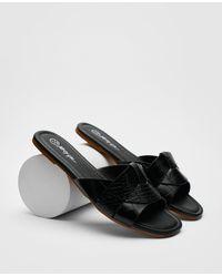Nasty Gal Croc Faux Leather Flat Square Toe Mules - Black
