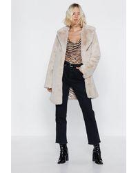 """Nasty Gal - """"oversized Beige Faux Fur Coat"""" - Lyst"""