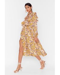 "Nasty Gal ""floral You Know Ruffle Midi Dress"" - Multicolour"