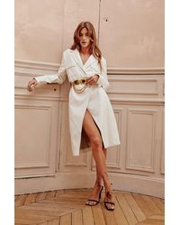 Nasty Gal Check Your Coat Faux Leather Trench Coat - White