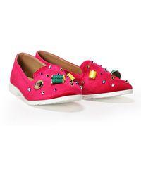 Nasty Gal Spool Hopping Embellished Velvet Flat - Pink