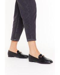"Nasty Gal ""fancy Feet Croc Faux Leather Loafers"" - Black"