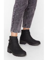 """Nasty Gal """"buck Is On Our Side Faux Leather Cleated Boots"""" - Black"""