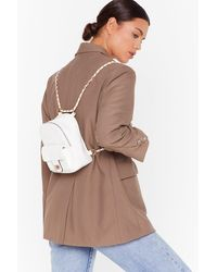 Nasty Gal Want No Quilt Faux Leather Backpack - White