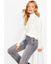 Nasty Gal Shoulder Pad Girls Club Knitted Jumper - White