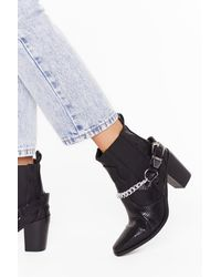 Nasty Gal Chained To The Beat Faux Leather Snake Boots - Black