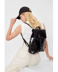 Nasty Gal Croc Patent Faux Leather Backpack - Black