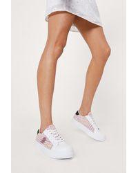 Nasty Gal Boucle Lightening Flatform Sneakers - Pink