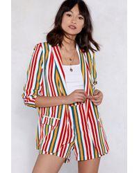 Nasty Gal - Set It Straight Striped Blazer - Lyst