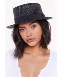 """Nasty Gal - """"bow Before The Queen Straw Boater Hat"""" - Lyst"""