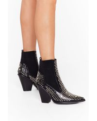 Nasty Gal Stud For You Faux Leather Chelsea Boots - Black