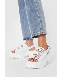 Nasty Gal Faux Leather Buckle Front Chunky Sandals - White