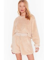 Nasty Gal Teddy For Bed Sweater And Shorts Lounge Set - Multicolor