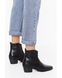 """Nasty Gal """"walk This Way Faux Leather Boots"""" - Black"""