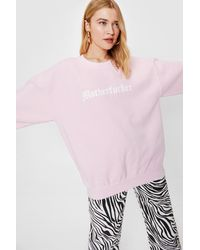 Nasty Gal Motherfucker Crew Neck Oversized Graphic Sweatshirt - Pink