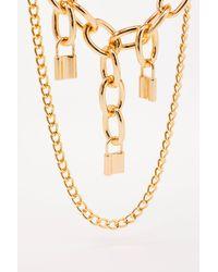 Nasty Gal Padlock You Down Layered Chain Necklace - Metallic