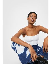 Nasty Gal Cropped Strapless Seam Detail Corset Top - White
