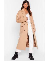 Nasty Gal Faux Wool Smart Longline Coat - Natural