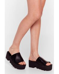 Nasty Gal You Can't Mule Us Faux Leather Chunky Sandals - Black
