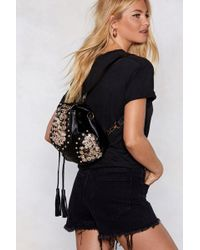 """Nasty Gal """"want Button Another Level Embellished Backpack"""" - Black"""