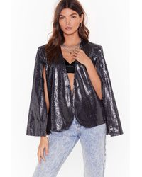 Nasty Gal Save The Day Sequin Cape Jacket - Black