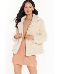 "Nasty Gal ""as Fur Usual Aviator Faux Fur Jacket"" - Natural"