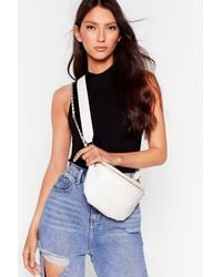 Nasty Gal Want Call It Quilts Faux Leather Fanny Pack - White
