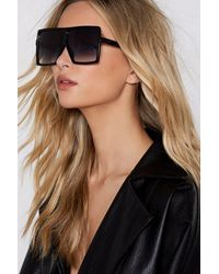 """Nasty Gal """"square Oversized Sunglasses With Thick Temples"""" - Black"""