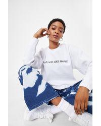 Nasty Gal No Place Like Home Oversized Graphic Sweatshirt - White