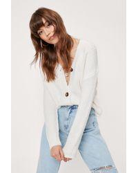 Nasty Gal Knitted Oversized V Neck Cardigan - Multicolour