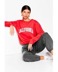 Nasty Gal California Oversized Graphic Sweatshirt - Red