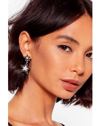 "Nasty Gal ""need To Star-t Listening Embellished Earrings"" - Black"