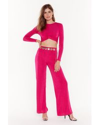 "Nasty Gal ""i'm Knot Kidding Crop Top And Trousers Set"" - Pink"