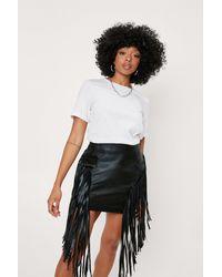 Nasty Gal Petite Faux Leather Fringe Detail Mini Skirt - Black