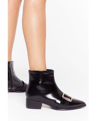 "Nasty Gal ""better Buck Next Time Patent Faux Leather Boots "" - Black"