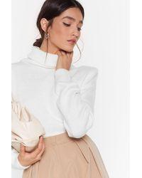 Nasty Gal Shoulder To Shoulder Padded Turtleneck Sweater - White