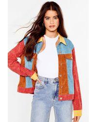 Nasty Gal Bright Back Atcha Colorblock Corduroy Jacket - Multicolour