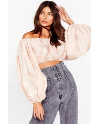 Nasty Gal Don't You Bare Off-the-shoulder Cropped Top - Multicolour