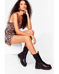 Nasty Gal Calf High Faux Leather Chelsea Boots - Black