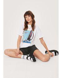 Nasty Gal Atlantic City Crew Neck Graphic T-shirt - White