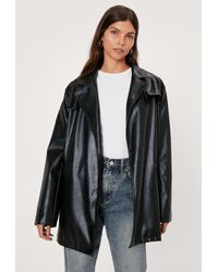 Nasty Gal Faux Leather Relaxed Trench Jacket - Black